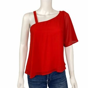 Anna Grace Red One Shoulder Shirt Size M